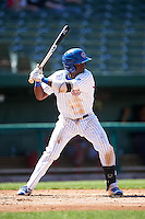 South Bend Cubs shortstop Andruw Monasterio (6) at bat during the second game of a doubleheader against the Peoria Chiefs on July 25, 2016 at Four Winds Field in South Bend, Indiana.  South Bend defeated Peoria 9-2.  (Mike Janes/Four Seam Images)