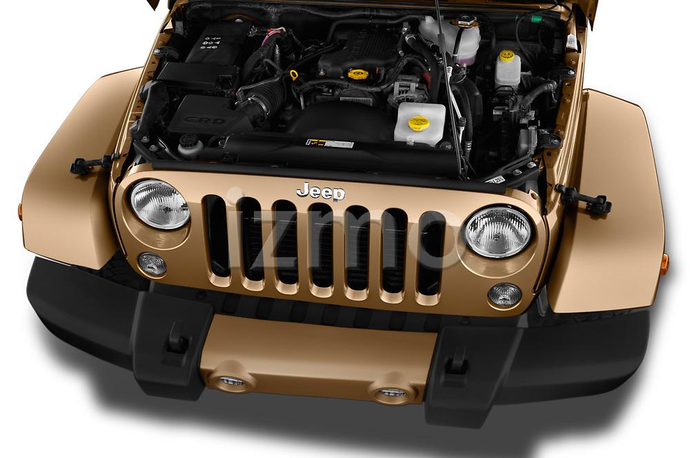 Car Stock 2017 JEEP wrangler Sahara 5 Door SUV Engine  high angle detail view