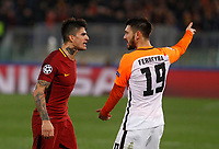 Roma s Diego Perotti, left, argues with Shakhtar Donetsk Facundo Ferreyra during the Uefa Champions League round of 16 second leg soccer match between Roma and Shakhtar Donetsk at Rome's Olympic stadium, March 13, 2018. Roma won. 1-0 to join the quarter finals.<br /> UPDATE IMAGES PRESS/Riccardo De Luca