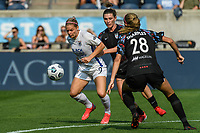 BRIDGEVIEW, IL - JULY 18: Eugenie Le Sommer #9 of the OL Reign plays the ball during a game between OL Reign and Chicago Red Stars at SeatGeek Stadium on July 18, 2021 in Bridgeview, Illinois.