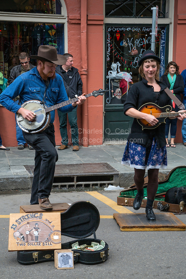 """French Quarter, New Orleans, Louisiana.  Street Performers, Royal Street.  Tap Dancer and Banjo Player.  """"13 Strings and a Two Dollar Bill."""""""