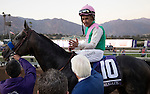 ARCADIA, CA - NOVEMBER 5: Arrogate #10, ridden by Mike Smith, celebrates with Bob Baffert after winning the the Breeders' Cup Classic during day two of the 2016 Breeders' Cup World Championships at Santa Anita Park on November 5, 2016 in Arcadia, California. (Photo by Zoe Metz/Eclipse Sportswire/Breeders Cup)