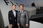 Hosts Andrew Cordes and Brian Teichman at a welcome reception for the Orbis Flying Eye Hospital at Ellington Airport Tuesday Oct. 20,2015.(Dave Rossman photo)