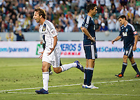 CARSON, CA - June 23, 2012: LA Galaxy midfielder Mike Magee (18) celebrates his goal during the LA Galaxy vs Vancouver Whitecaps FC match at the Home Depot Center in Carson, California. Final score LA Galaxy 3, Vancouver Whitecaps FC 0.