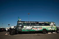 An Eagles bus sits empty in the parking lot of Lincoln Financial Field on November 29, 2009