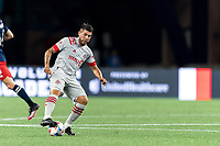FOXBOROUGH, MA - JULY 7: Alejandron Pozuelo #10 of Toronto FC collects a pass during a game between Toronto FC and New England Revolution at Gillette Stadium on July 7, 2021 in Foxborough, Massachusetts.