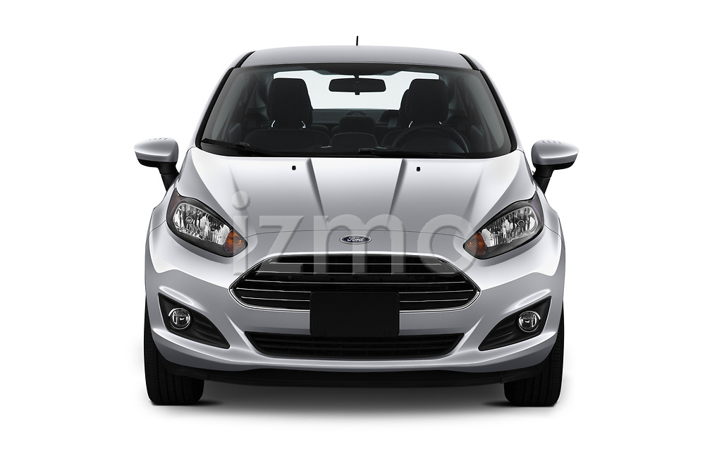 Car photography straight front view of a 2019 Ford Fiesta SE 4 Door Sedan Front View