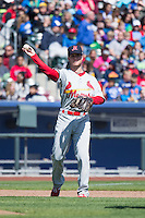Matt Williams (7) of the Memphis Redbirds on defense against the Omaha Storm Chasers in Pacific Coast League action at Werner Park on April 22, 2015 in Papillion, Nebraska.  (Stephen Smith/Four Seam Images)
