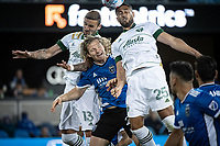 SAN JOSE, CA - MAY 15: Dario Zuparic #13 of the Portland Timbers,  Florian Jungwirth #23 of the San Jose Earthquakes, and  Bill Tuiloma #25 of the Portland Timbers go up to head the ball during a game between San Jose Earthquakes and Portland Timbers at PayPal Park on May 15, 2021 in San Jose, California.