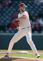 Arkansas starter Caleb Bolden delivers to the plate Wednesday, April 7, 2021, during the inning of the Razorbacks' 10-3 win over UALR at Baum-Walker Stadium in Fayetteville. Visit nwaonline.com/210408Daily/ for today's photo gallery. <br /> (NWA Democrat-Gazette/Andy Shupe)