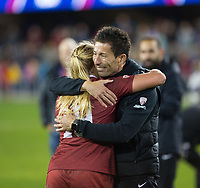 Stanford, CA - December 8, 2019: Katie Meyer, Hideki Nakada at Avaya Stadium. The Stanford Cardinal won their 3rd National Championship, defeating the UNC Tar Heels 5-4 in PKs after the teams drew at 0-0.