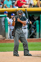 Home plate umpire J.J. January handles the calls as the Salt Lake Bees faced the Round Rock Express in Pacific Coast League action at Smith's Ballpark on August 15, 2016 in Salt Lake City, Utah. Round Rock defeated Salt Lake 5-4.  (Stephen Smith/Four Seam Images)