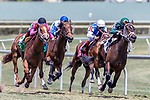 HALLANDALE BEACH, FL - MAR 31:Figarella's Queen #2 trained by Gustavo Delgado with Luis Saez in the irons Passes the final urn and heads down the home stretch on the way to winning The Sanibel Island Stakes (G3) at Gulfstream Park on March 31, 2018 in Hallandale Beach, Florida. (Photo by Bob Aaron/Eclipse Sportswire/Getty Images)
