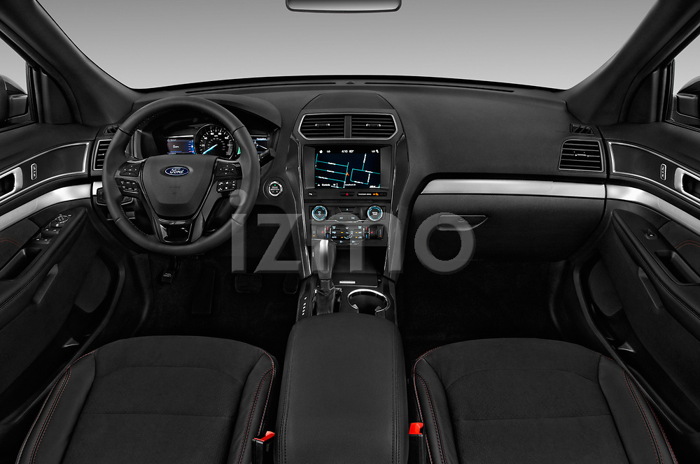 Stock photo of straight dashboard view of a 2018 Ford Explorer XLT 5 Door SUV