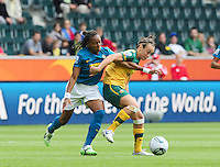 Fifa Women's World Cup Germany 2011 : Brazil - Australia  at Borussia - Park in Munchengladbach : Caitlin Foord in duel met Ester.foto DAVID CATRY / Vrouwenteam.be