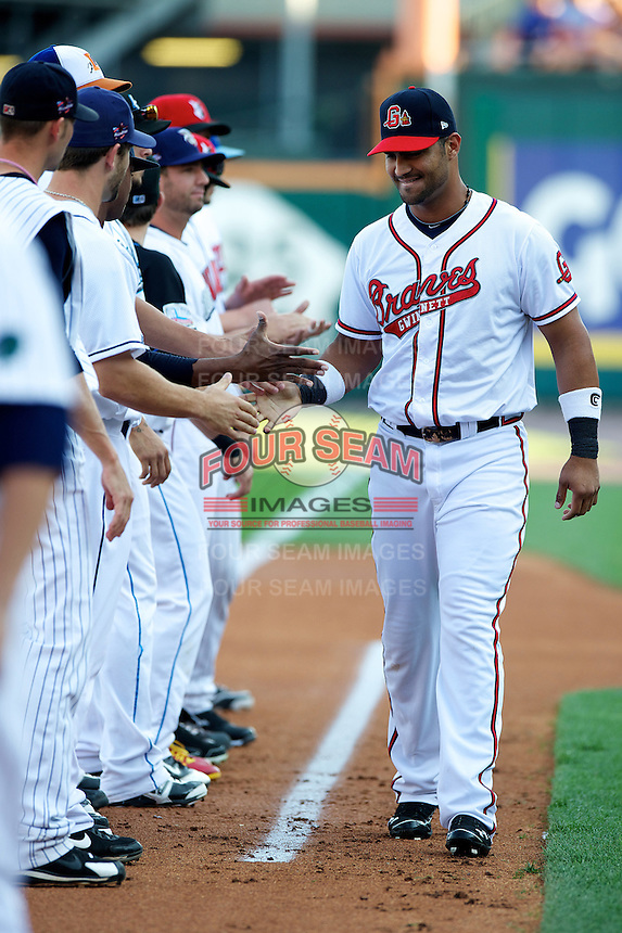 Gwinnett Braves first baseman Ernesto Mejia #20 during the Triple-A All-Star game featuring the Pacific Coast League and International League top players at Coca-Cola Field on July 11, 2012 in Buffalo, New York.  PCL defeated the IL 3-0.  (Mike Janes/Four Seam Images)