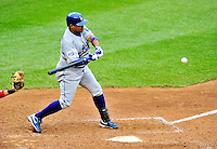 24 April 2010: Los Angeles Dodgers' infielder Ronnie Belliard at bat against the Washington Nationals at Nationals Park in Washington, DC. The Dodgers edged out the Nationals 4-3. Mandatory Credit: Ed Wolfstein Photo