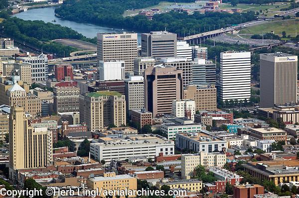 aerial photograph of the Richmond, Virginia skyline