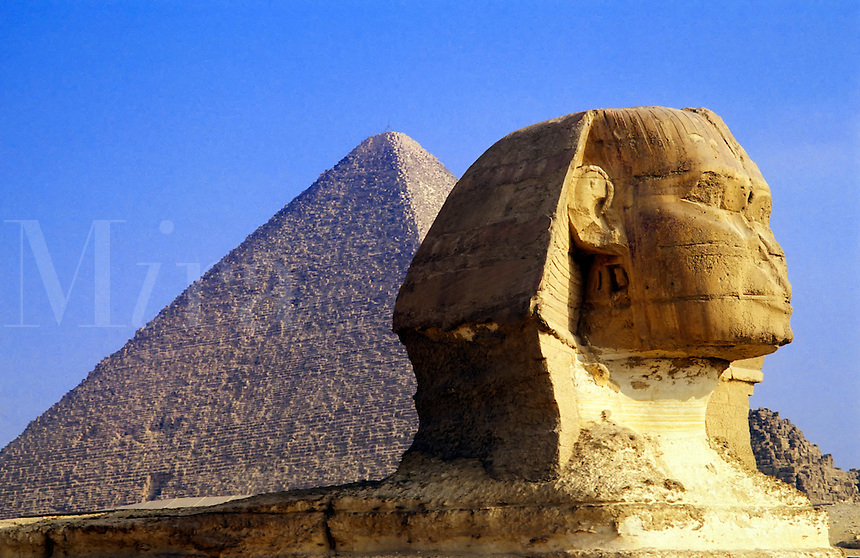Egypt. Cairo.  The Sphinx and the Great Pyramid of Cheops at Giza.
