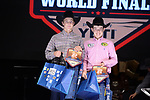 Kyler Beshirs, Rustin Baldwin, during the Team Roping Back Number Presentation at the Junior World Finals. Photo by Andy Watson. Written permission must be obtained to use this photo in any manner.
