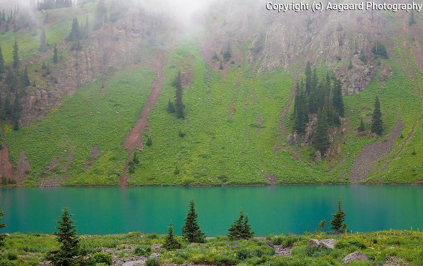 Lower Blue Lake on a wet, misty summer day.<br /> <br /> Canon EOS 5D, 50mm f/1.8 lens