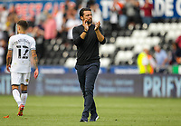 11th September 2021; Swansea.com Stadium, Swansea, Wales; EFL Championship football, Swansea versus Hull City; Russel Martin manager of Swansea City applauds the fans after the match