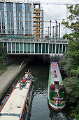 Narrowboats on the Grand Union canal, Kings Cross, London.