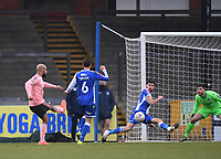 9th January 2021; Memorial Stadium, Bristol, England; English FA Cup Football, Bristol Rovers versus Sheffield United; Jack Baldwin of Bristol Rovers blocks the shot from David McGoldrick of Sheffield United