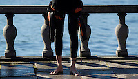 25 AUG 2013 - STOCKHOLM, SWE - A competitor waits for his wave start of the Stockholm Triathlon in Stockholm, Sweden (PHOTO COPYRIGHT © 2013 NIGEL FARROW, ALL RIGHTS RESERVED)