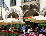 Deutschland, Bayern, Oberbayern, Muenchen: Strassencafe am Platzl | Germany, Bavaria, Upper Bavaria, Munich: cafe at Platzl Square
