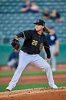 Dillon Peters (20) of the Salt Lake Bees delivers a pitch to the plate against the Tacoma Rainiers at Smith's Ballpark on May 13, 2021 in Salt Lake City, Utah. The Rainiers defeated the Bees 15-5. (Stephen Smith/Four Seam Images)