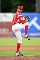 Batavia Muckdogs pitcher Gabriel Castellanos (37) delivers a pitch during a game against the Mahoning Valley Scrappers on June 20, 2014 at Dwyer Stadium in Batavia, New York.  Batavia defeated Mahoning Valley 7-4.  (Mike Janes/Four Seam Images)