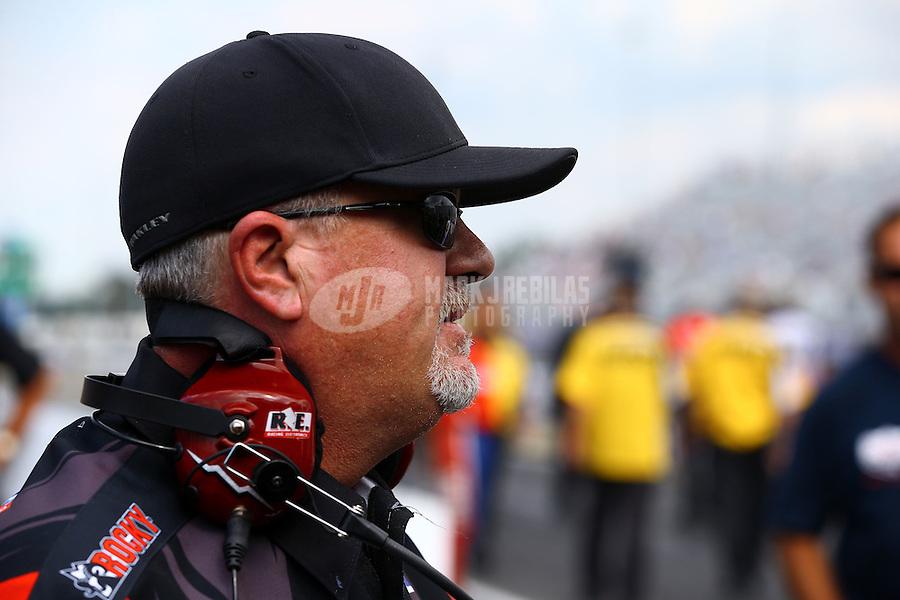 Sep 15, 2013; Charlotte, NC, USA; Crew chief Dickie Venables for NHRA funny car driver Matt Hagan (not pictured) during the Carolina Nationals at zMax Dragway. Mandatory Credit: Mark J. Rebilas-