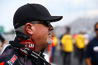 Sep 15, 2013; Charlotte, NC, USA; Crew chief Dickie Venables for NHRA funny car driver Matt Hagan (not pictured) during the Carolina Nationals at zMax Dragway. Mandatory Credit: Mark J. Rebilas-