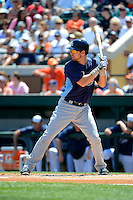Tampa Bay Rays infielder Ben Zobrist #18 during a Spring Training game against the Detroit Tigers at Joker Marchant Stadium on March 29, 2013 in Lakeland, Florida.  (Mike Janes/Four Seam Images)