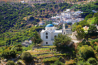 Hill Village of Skado. Naxos Greek Cycaldes Island.