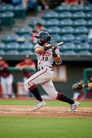 Richmond Flying Squirrels second baseman Ali Castillo (19) follows through on a swing during a game against the Altoona Curve on May 15, 2018 at Peoples Natural Gas Field in Altoona, Pennsylvania.  Altoona defeated Richmond 5-1.  (Mike Janes/Four Seam Images)