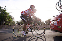 Sean De Bie (BEL/Lotto-Soudal) & Lars Bak (DEN/Lotto-Soudal) getting a lift back to the group behind the team car<br /> <br /> Team Lotto-Soudal <br /> 2016 pre-season training camp<br /> <br /> Mallorca, december 2015