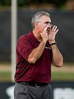 Santa Clara head coach Jerry Smith yells to his team.  Maryland defeated Santa Clara, 1-0, at Ludwig Field in College Park Maryland.