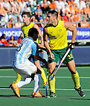The Hague, Netherlands, June 13: Jeremy Hayward #32 of Australia scores a penalty corner to give Australia a lead of 2-0 during the field hockey semi-final match (Men) between Australia and Argentina on June 13, 2014 during the World Cup 2014 at Kyocera Stadium in The Hague, Netherlands. Final score 5-1 (3-0)  (Photo by Dirk Markgraf / www.265-images.com) *** Local caption ***