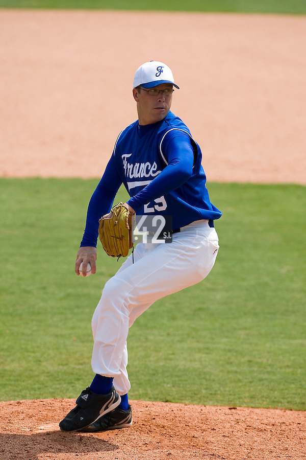 23 August 2007: Pitcher #29 Maxime Leblanc pitches during the France 8-4 victory over Czech Republic in the Good Luck Beijing International baseball tournament (olympic test event) at the Wukesong Baseball Field in Beijing, China.
