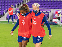ORLANDO, FL - JANUARY 22: Catarina Macario #29 and Megan Rapinoe #15 of the USWNT hug after a game between Colombia and USWNT at Exploria stadium on January 22, 2021 in Orlando, Florida.