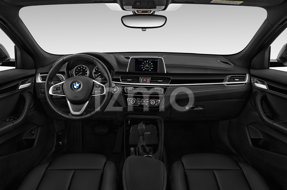 Stock photo of straight dashboard view of a 2019 BMW X2 Standard 5 Door SUV