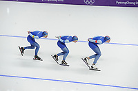 OLYMPIC GAMES: PYEONGCHANG: 18-02-2018, Gangneung Oval, Long Track, Team Pursuit Men, Team Norway, Simen Spiler Nilsen, Sverre Lunde Pedersen, Sindre Henriksen, ©photo Martin de Jong