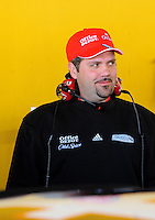 Feb 07, 2009; Daytona Beach, FL, USA; Darian Grubb , crew chief for NASCAR Sprint Cup Series driver Tony Stewart (not pictured) during practice for the Daytona 500 at Daytona International Speedway. Mandatory Credit: Mark J. Rebilas-
