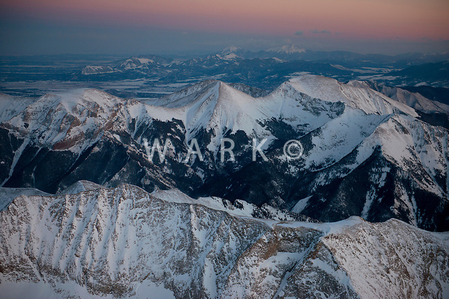 Sangre de Cristo Range looking towards the Spanish Peaks.  Mt. Blanca. Looking south. Feb 2013. 82650