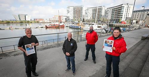 From left to right: A/Sgt Morton, Belfast Harbour Police, Stephen Tate, Community Development Officer - Belfast City Council, Rob Geraghty, Head of Land Discipline - LSAR and Brooke Garrett, Head of Medical Discipline - LSAR