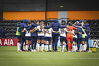 10th October 2020, The Hive, Canons Park, Harrow, England; The Tottenham team huddles after for womens Super League game between Tottenham Hotspur and Manchester United