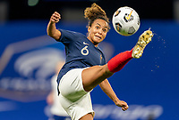 LE HAVRE, FRANCE - APRIL 13: Ines Jaurena #6 of France tries to control the ball during a game between France and USWNT at Stade Oceane on April 13, 2021 in Le Havre, France.