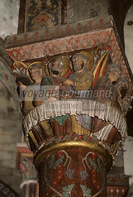 Europe/France/Auverne/63/Puy-de-Dôme/Issoire: L'abbatiale Saint-Austremoine - Détail chapiteau de la Cène